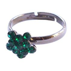 Silver ring with green crystal  http://enewmall.com/women-rings/