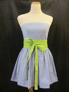 Blue & White Striped Sundress with Lime Green by savannahjacks, $60.00 nautical dress summer beach preppy bow mini strapless short