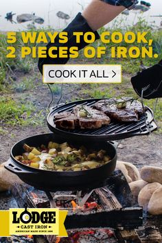 The 14 Inch Cast Iron Cook-It-All is the only outdoor cookware you need. With 5 cooking configurations from only 2 pieces of iron, the Cook-It-All creates a whole world of possibilities to your campsite cuisine. The reversible grill/griddle offers a ton of cooking surface and also acts as a lid. The 6.8 quart bottom is a wok and skillet, and can be inverted to become a domed lid for baking. The heavy-duty handles easily maneuver the iron while keeping hands safe from heat. Also includes a 33…