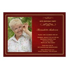 "60th Birthday Party Invitations - Add your photo 5"" X 7"" Invitation Card"