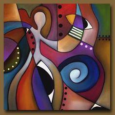 Art 'Siren Song' - by Thomas C. Fedro from Cubist Black Art Painting, Diy Painting, Grafic Art, Eyes Artwork, Cubism Art, Beginner Art, Oil Pastel Drawings, Picasso Art, Whimsical Art