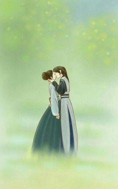 Merrp it makes my hearteu ache Korean Anime, Korean Art, Cute Couple Art, Anime Love Couple, Kdrama, Moon Lovers, Lovers Art, Fanart, Anime Couples