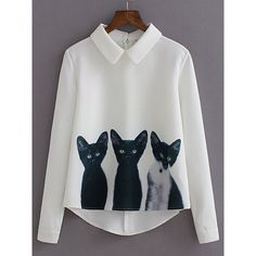 SheIn(sheinside) White Lapel Long Sleeve Cats Print Blouse (€13) ❤ liked on Polyvore featuring tops, blouses, white, cat print top, cat tops, collar top, white blouse and white top
