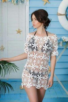White Crochet dress Crochet cover up in white cotton Beach Crochet Beach Dress, Crochet Tunic, Crochet Clothes, Crochet Top, Tattoos Motive, Crochet Cover Up, Cotton Tunics, Crochet Fashion, Beach Dresses