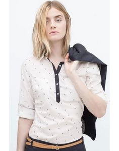 LUCLUC Turn Down Collar Printed Cotton Casual Blouse - LUCLUC
