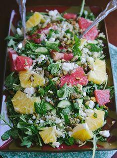 Clean Eating Arugula & Citrus Salad With Quinoa, Pistachios & Feta Recipe. - I use strawberries and goat cheese instead of citrus and feta. Lemon Recipes, Raw Food Recipes, Appetizer Recipes, Salad Recipes, Vegetarian Recipes, Cooking Recipes, Healthy Recipes, Cheese Recipes, Chicken Recipes