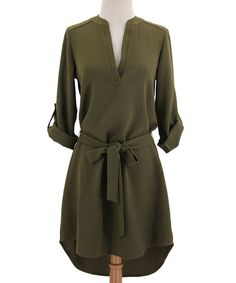 Loving this Olive Open Placket Hi-Low Dress on #zulily! #zulilyfinds
