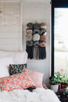 I get asked quite often where the giant pom pom wall hanging in my Tea Shed is from. So I thought I'd share a few more pictures from that weekend last summer when my hand seized up from Shed Interior, Interior Paint, Backyard Picnic, Turbulence Deco, Gravity Home, Door Curtains, Curtain Door, Slow Living, Craft Stick Crafts