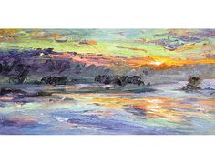Sunrise American River in Winter by Jian Wang.  In my Advanced Painting class we had to find a piece of artwork we really loved and copy it.  With a twist.  This is the one that I chose.