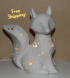 Ceramic Fox Night Light in White - Accent Lamp Night Light - Home Decor by NoodleDooDesigns on Etsy