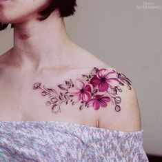 flower, pink, shoulder tattoo, tattoo for woman