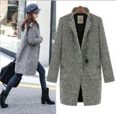 2014 New Spring Fall/Winter Women Fashion Black White Notch Stand Collar Long Sleeve Wool Oversize Blends Coat Jacket S--XXXL US $37.00