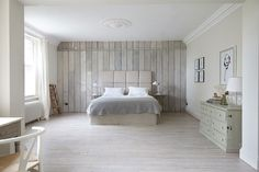 London Victorian, Master Bedroom with Reclaimed Wood Panelling