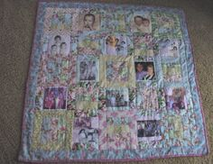 Memory Quilt.  I made this one for my mom -- printed old pictures of our family onto fabric and sewed us into a quilt.  She LOVES this quilt and I'm so pleased.  A joy to make.  I'd do it again in a heartbeat.