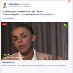 Brazil presidential candidate Marina Silva Facebook Face to Face