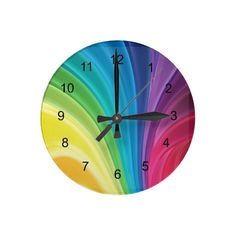 Rainbow Color Waves Design Wall Clock
