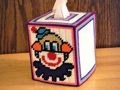 Clown Tissue Box Cover Plastic Canvas Birthday by ShanaysCreation