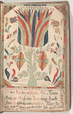 Pennsylvania German Fraktur and Manuscripts - Digital Collections - Free Library Folk Art Flowers, Flower Art, Colour Story, Picture Letters, Happy Photos, Medieval, Flash Art, Pattern And Decoration, Free Library
