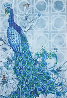 Peacock - facing left - Stretched Canvas