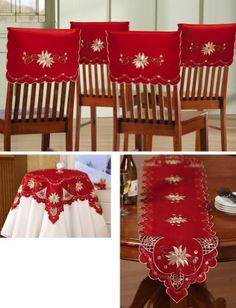 Christmas Elegance Embroidered Holiday Table Linens - Linens feature scalloped edges with embroidery.Christmas Elegance Embroidered Holiday Table Linens Runner is attractive and will add elegance to your kitchen with its bright color. A perfect gift Christmas Projects, Christmas Themes, Christmas Holidays, Christmas Crafts, Christmas Ornaments, Christmas Table Settings, Holiday Tables, Mery Chrismas, Christmas Chair Covers