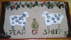PEAR of SHEEP hand hooked wool Rug by madebyhenriette on Etsy