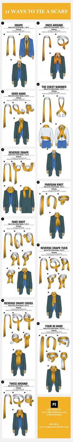 Infographie : 11 façons (simples) de nouer une écharpe avec élégance