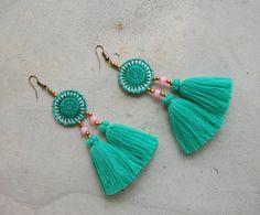 Round Ethnic Embroidery Light Green Tassel Earrings