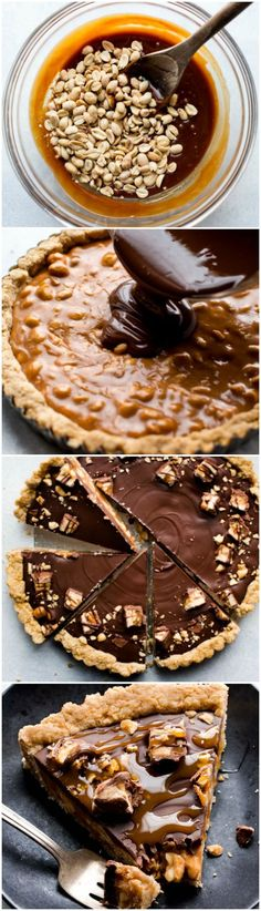 Snickers caramel tart recipe with peanut butter, milk chocolate, peanuts, and salted caramel for a sweet and salty dessert! Recipe on sallysbakingaddiction.com