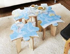 How to Make Jigsaw Puzzle Tables Don't be puzzled! Use a jigsaw to shape the plywood into four tops that fit together, for fun and functional mini tables.