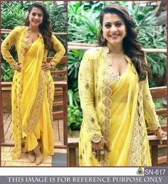 Bollywood Yellow Saree Dress Georgette Sari with Stitched Blouse Readymade Saree Designer Indian Wear - Saree Styles Saree Wearing Styles, Saree Styles, Dress Styles, Bollywood Designer Sarees, Bollywood Fashion, Bollywood Style, Designer Sarees Wedding, Look Fashion, Indian Fashion