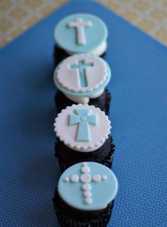 Fondant Baptism Cross Toppers for Decorating Baptism Celebration Cupcakes, Cookies or Brownies. $18.00, via Etsy.