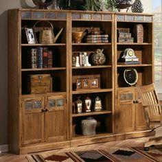 Sunny Designs Sedona Rustic Oak Door Bookcase - Dunk & Bright Furniture - Bookcase - 2 Pc. with Hutch Syracuse, Liverpool, Auburn, Utica, Os...
