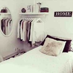 love the black and white and the open half closet would have another closet but i could keep my favorite stuff here