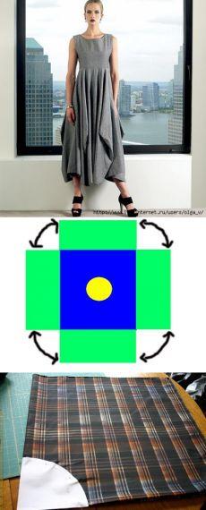 >Выкройка юбки-бохо. Из квадрата.