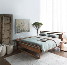 Classy Bedroom Wall Decor Ideas to Style Up Your Space - The Trending House Bed Frame Design, Diy Bed Frame, Bed Design, Wooden Bed Frames, Wooden Queen Bed Frame, Wooden Beds, Timber Frames, Teak, Bed Lights