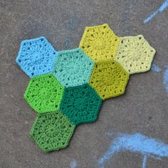 hexagon crochet | Each one only takes a tiny amount of yarn, so I can use all of these ...