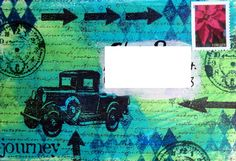Mail art envelope (mixed media, car, time, clock)