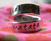 The original Hakuna Matata twist aluminum ring. $10.00, via Etsy.  Going on the christmas wish list :)