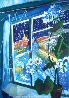 """Картина """"Снег идет"""". Батик. - горячий батик,стихи,зима,город,мастер Анна Агалина"""