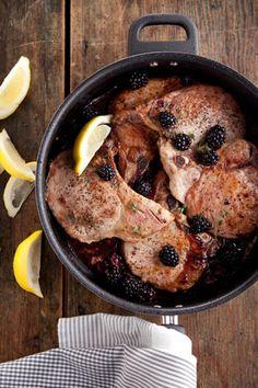 Paula Deen Pan-Fried Pork Chops with Blackberries