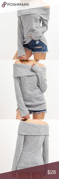 3 Left!  Grey Over the Shoulder Top This grey knit over the shoulder top is brand new and a perfect casual top is perfect for every season. It's easy to dress up or down. Available in S, M, L. Tops Tees - Long Sleeve