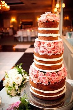 Now Trending: Naked Wedding Cakes. This is beautiful!!