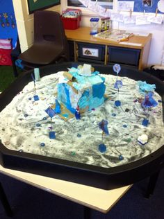 Frozen small world. Salt and glitter with glass nuggets, foil confetti and frozen figures. The children created an ice palace for Elsa!