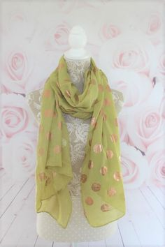 Lime Rose Gold Spot Scarf