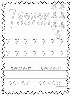 Choose a number 7 worksheet. Number worksheets are good practice for preschool and elementary school kids. Customize your worksheets by changing the . Numbers Preschool, Number Worksheets, Number 7, Learning To Write, School Kids, Math For Kids, Kindergarten Math, Maths, Elementary Schools