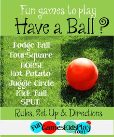 Fun games to play with a ball! Fun outdoor games for kids of all ages! Dodge … Fun games to. Outside Games For Kids, Games To Play With Kids, Fun Games For Kids, Recess Games, Gym Games, Camping Games, Dodgeball Games, Camping Ideas, Outdoor Games For Kids