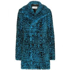 Saint Laurent Leopard-Print Mink Fur Coat ($26,730) ❤ liked on Polyvore featuring outerwear, coats, blue, yves saint laurent, blue coat, mink fur coat, leopard print coat and mink coat