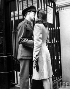 New York, NY 1944  Soldier tenderly kissing his girlfriend goodbye in Pennsylvania Station before returning to duty after a brief furlough.