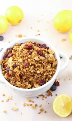 Crunchy easy to make and flavored with essential oils this is the perfect granola for breakfast or snacking! Cooking With Essential Oils, Lemon Essential Oils, Slow Cooker Recipes, Crockpot Recipes, Snack Recipes, Breakfast Recipes, Healthy Recipes, Lemon Raspberry Cheesecake, Good Enough To Eat