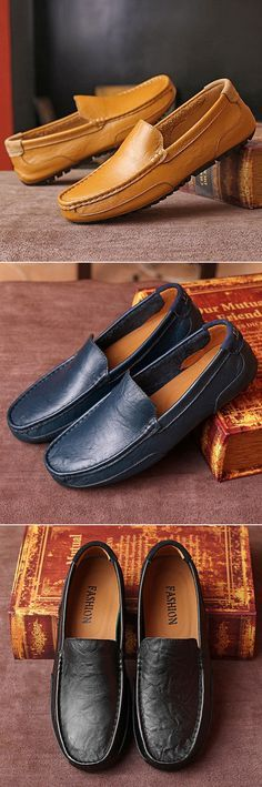 Men Leather Pure Color Lazy Slip On Flat Driving Loafers e63102ad0d07
